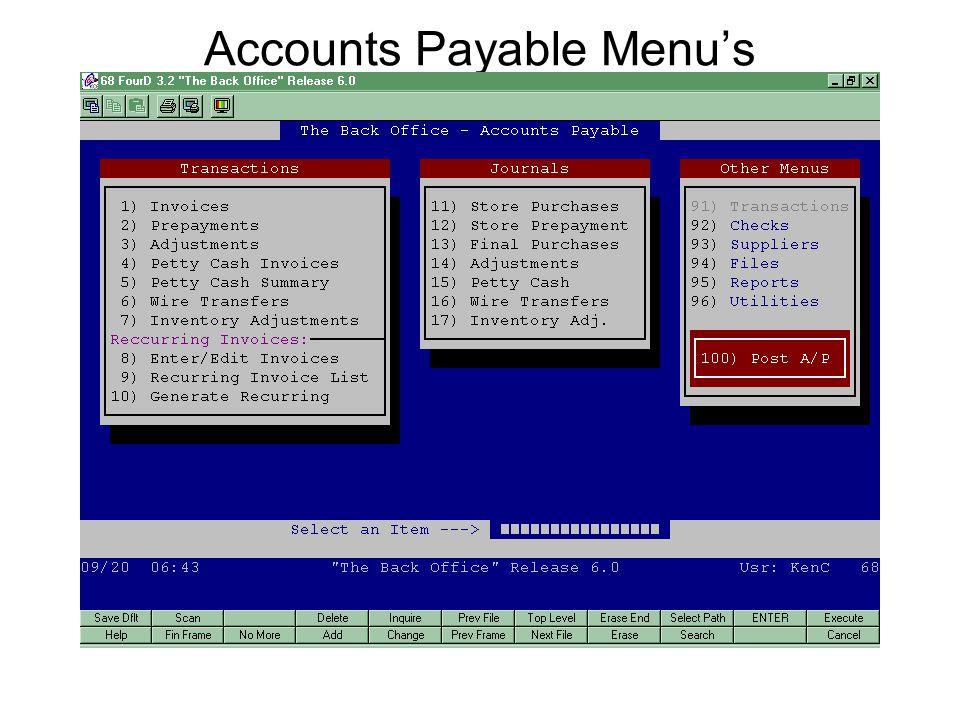 Accounts Payable Menu's