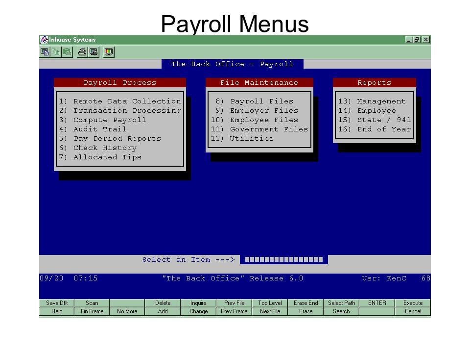 Payroll Menus