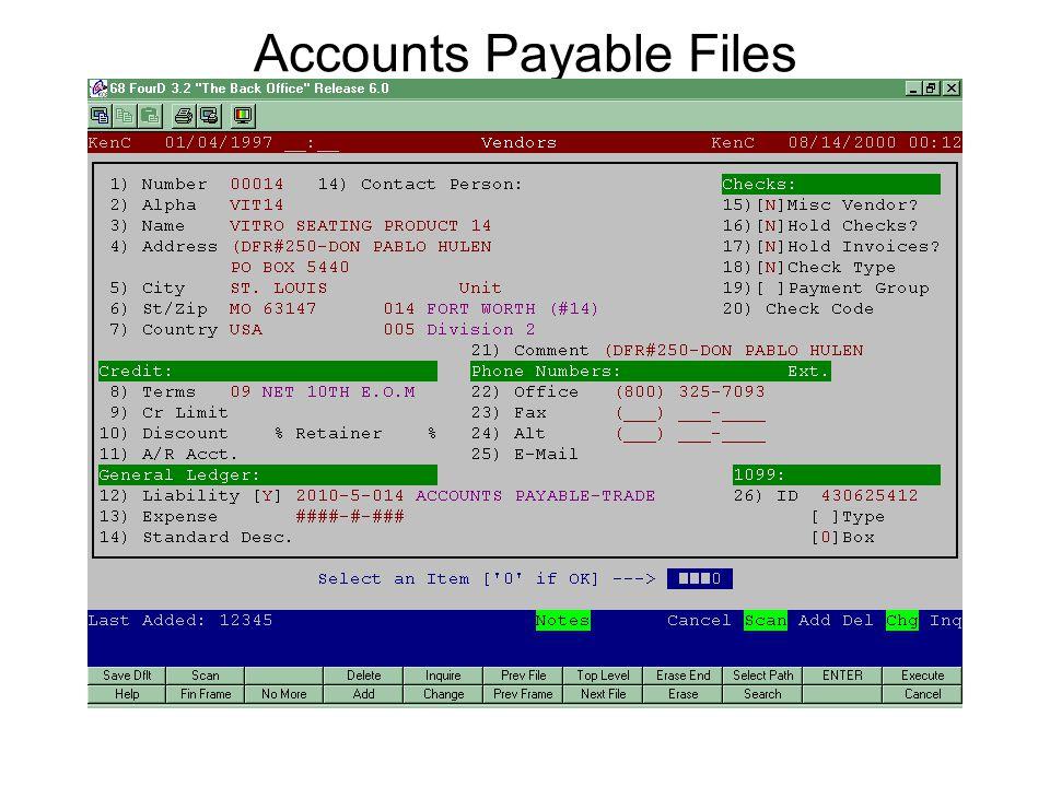 Accounts Payable Files