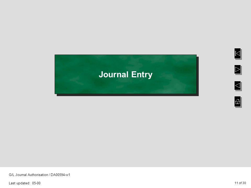 11 of 30 G/L Journal Authorisation / DA00594-w1 Last updated: 05-00 Journal Entry