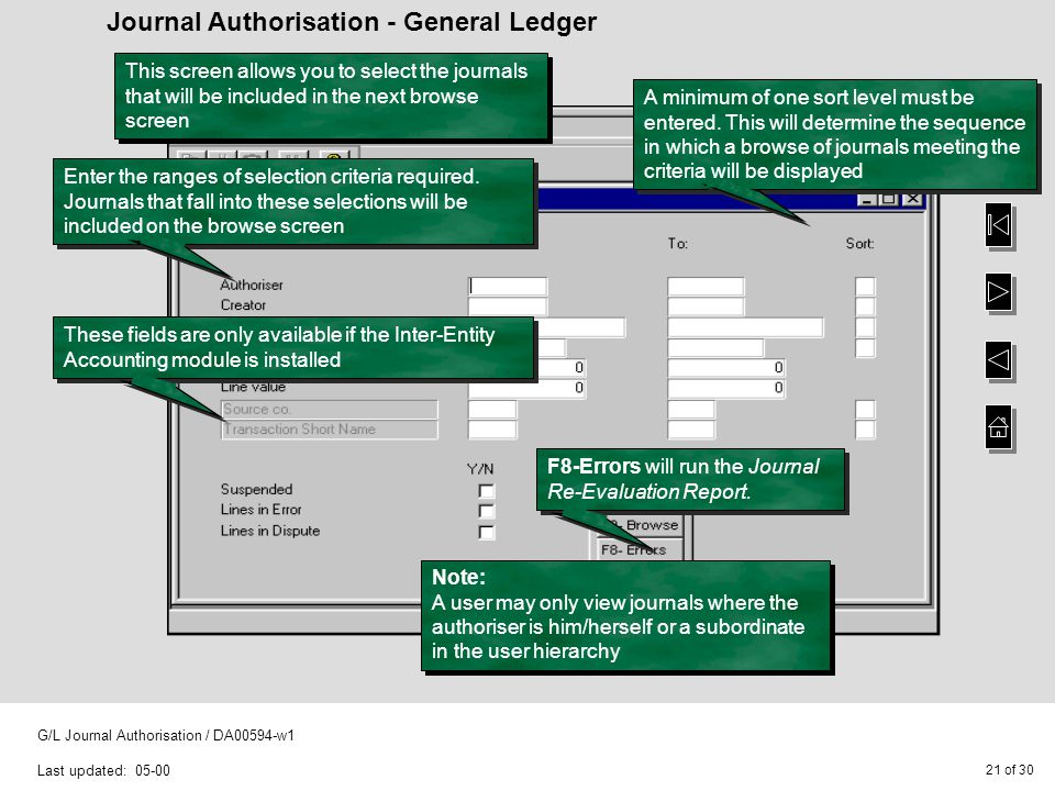 21 of 30 G/L Journal Authorisation / DA00594-w1 Last updated: 05-00 Journal Authorisation - General Ledger Enter the ranges of selection criteria required.