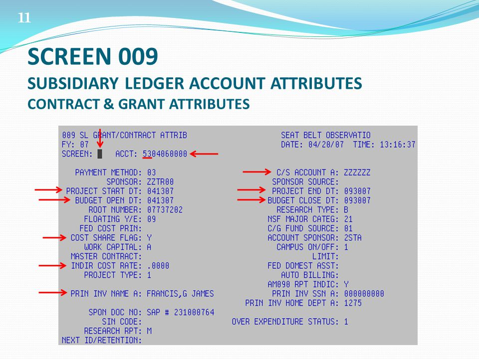 11 SCREEN 009 SUBSIDIARY LEDGER ACCOUNT ATTRIBUTES CONTRACT & GRANT ATTRIBUTES