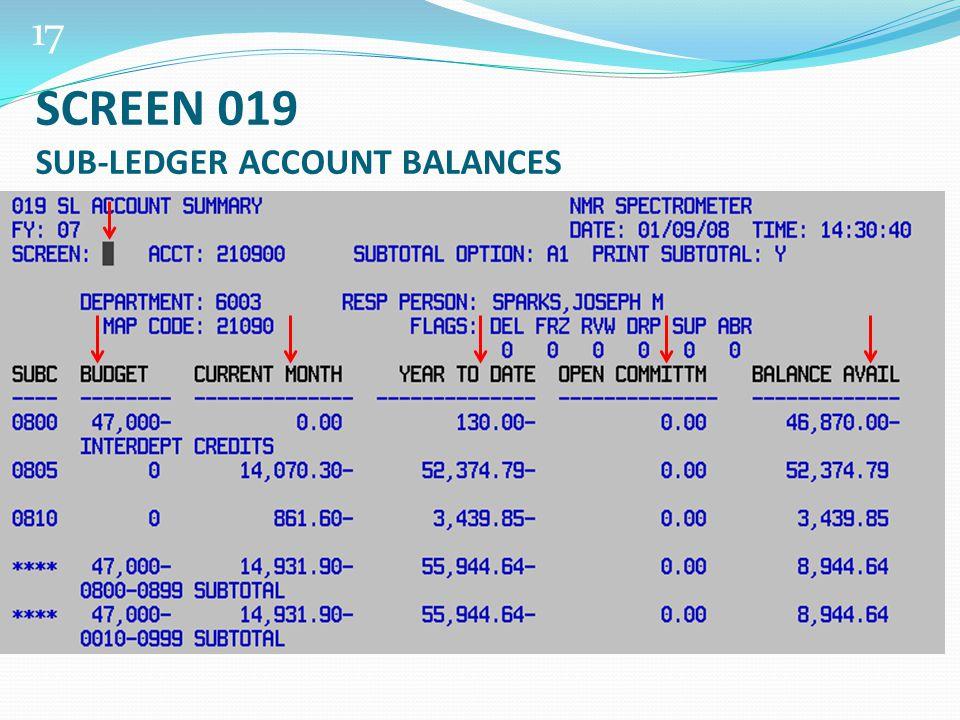 17 SCREEN 019 SUB-LEDGER ACCOUNT BALANCES
