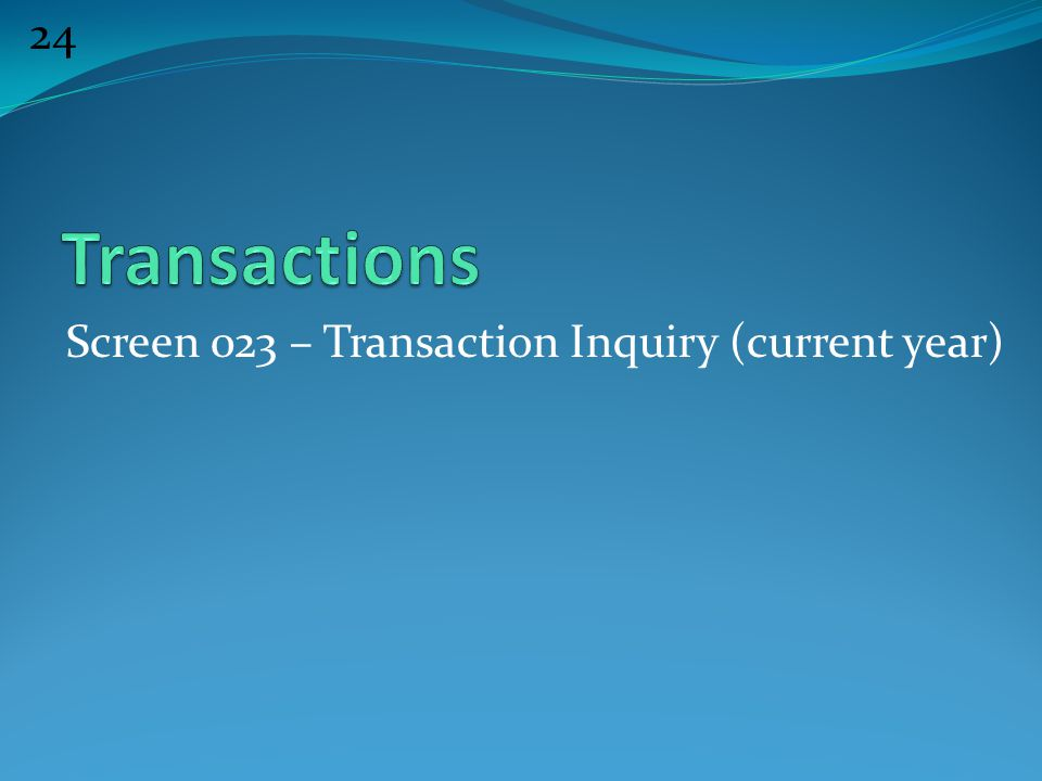 24 Screen 023 – Transaction Inquiry (current year)
