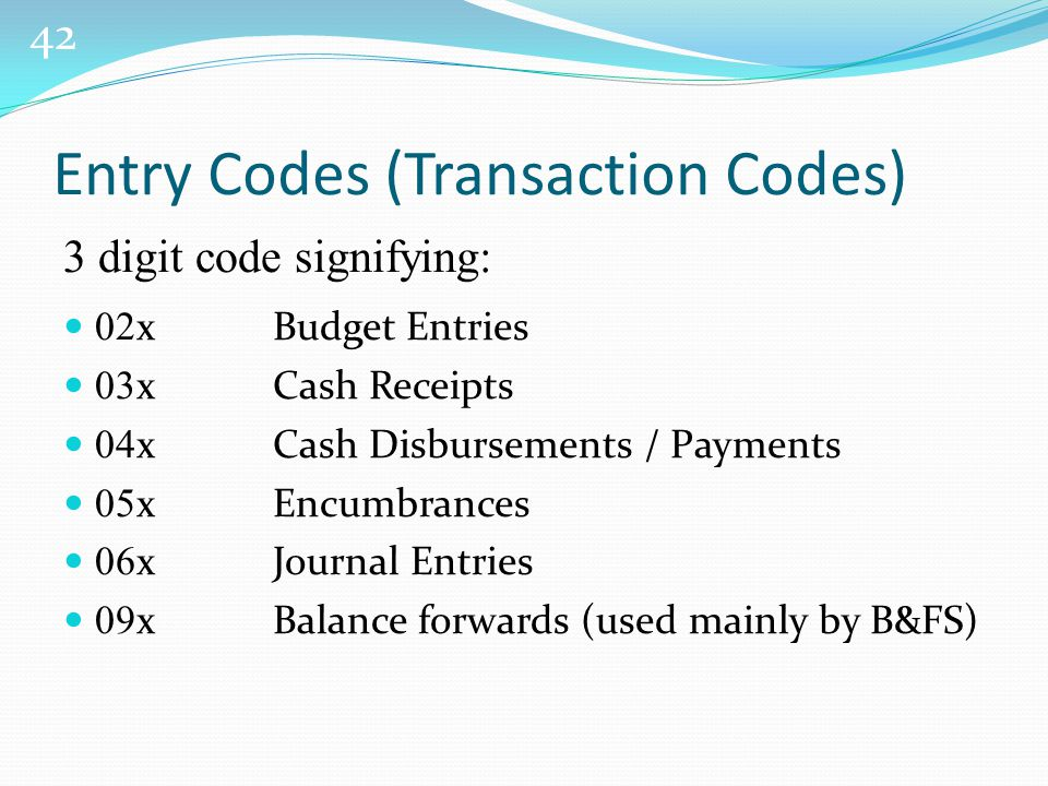 42 Entry Codes (Transaction Codes) 3 digit code signifying: 02 xBudget Entries 03 xCash Receipts 04 xCash Disbursements / Payments 05 xEncumbrances 06 xJournal Entries 09 xBalance forwards (used mainly by B&FS)