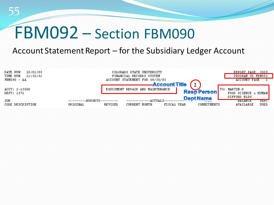 55 FBM092 – Section FBM090 Account Statement Report – for the Subsidiary Ledger Account 2
