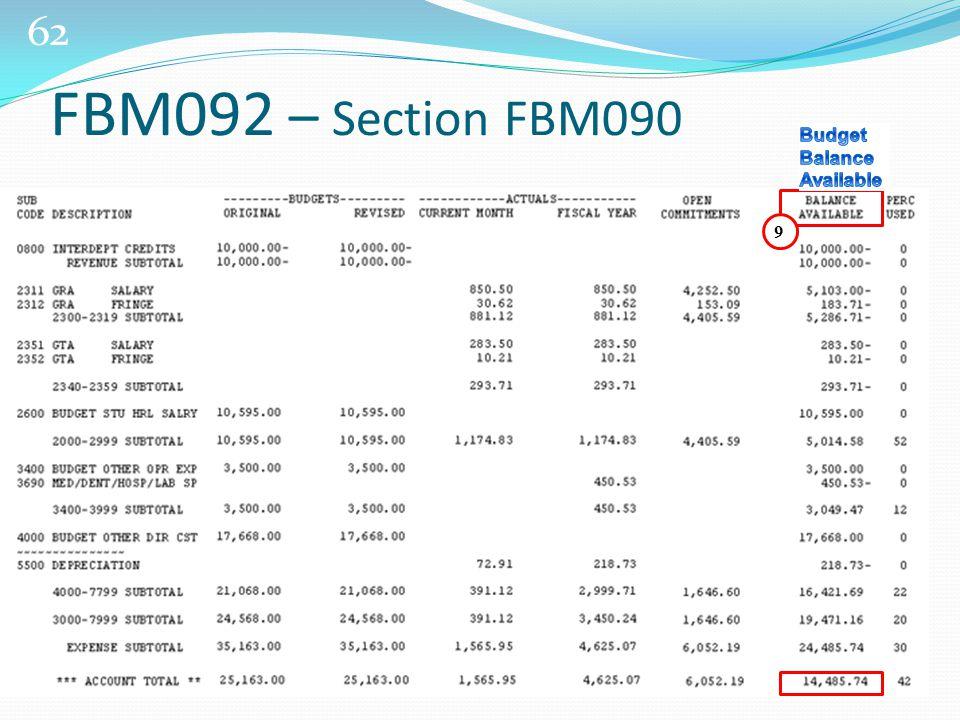 62 FBM092 – Section FBM090 9