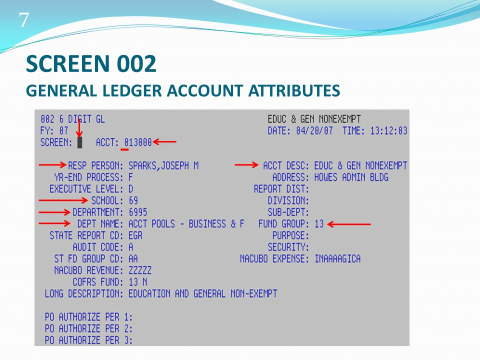 28 Highlights of Screen 023 View transaction detail EC Codes – entry or transaction codes Offset account number Date of transaction