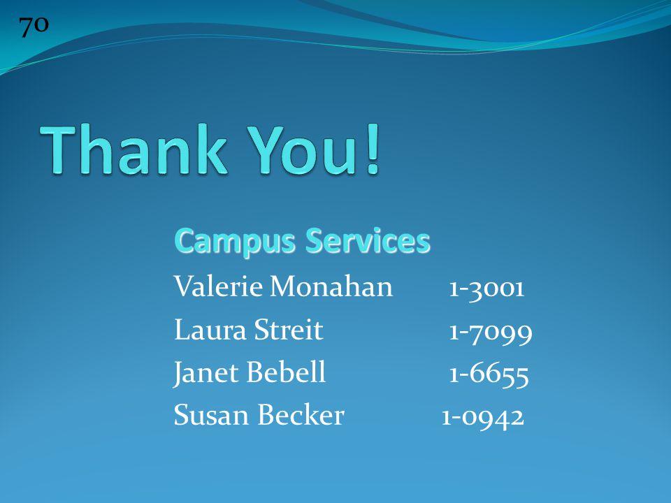 70 Campus Services Valerie Monahan 1-3001 Laura Streit 1-7099 Janet Bebell 1-6655 Susan Becker 1-0942