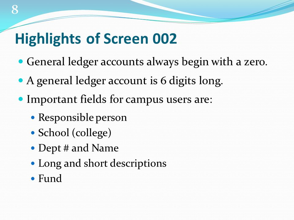9 SCREEN 006 SUBSIDIARY LEDGER ACCOUNT ATTRIBUTES