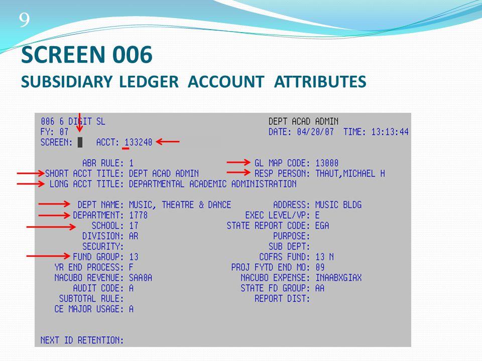 20 SCREEN 019 SUB-LEDGER ACCOUNT BALANCES