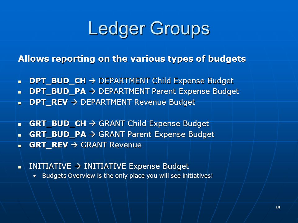 Ledger Groups Allows reporting on the various types of budgets DPT_BUD_CH  DEPARTMENT Child Expense Budget DPT_BUD_CH  DEPARTMENT Child Expense Budget DPT_BUD_PA  DEPARTMENT Parent Expense Budget DPT_BUD_PA  DEPARTMENT Parent Expense Budget DPT_REV  DEPARTMENT Revenue Budget DPT_REV  DEPARTMENT Revenue Budget GRT_BUD_CH  GRANT Child Expense Budget GRT_BUD_CH  GRANT Child Expense Budget GRT_BUD_PA  GRANT Parent Expense Budget GRT_BUD_PA  GRANT Parent Expense Budget GRT_REV  GRANT Revenue GRT_REV  GRANT Revenue INITIATIVE  INITIATIVE Expense Budget INITIATIVE  INITIATIVE Expense Budget Budgets Overview is the only place you will see initiatives!Budgets Overview is the only place you will see initiatives.