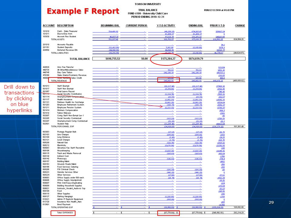 29 Example F Report Drill down to transactions by clicking on blue hyperlinks