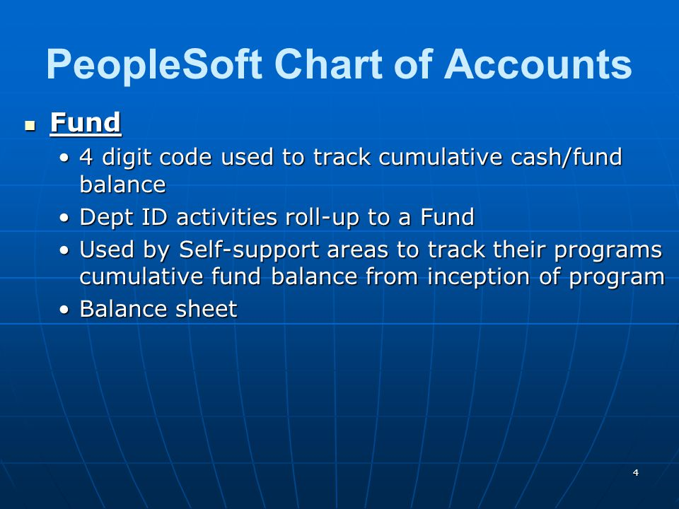 Fund Fund 4 digit code used to track cumulative cash/fund balance4 digit code used to track cumulative cash/fund balance Dept ID activities roll-up to a FundDept ID activities roll-up to a Fund Used by Self-support areas to track their programs cumulative fund balance from inception of programUsed by Self-support areas to track their programs cumulative fund balance from inception of program Balance sheetBalance sheet PeopleSoft Chart of Accounts 4