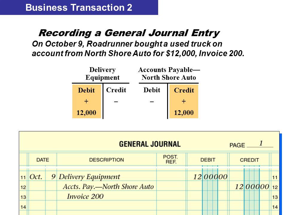Delivery Accounts Payable— EquipmentNorth Shore Auto Credit + 12,000 Debit – Debit + 12,000 Credit – Business Transaction 2 Recording a General Journa