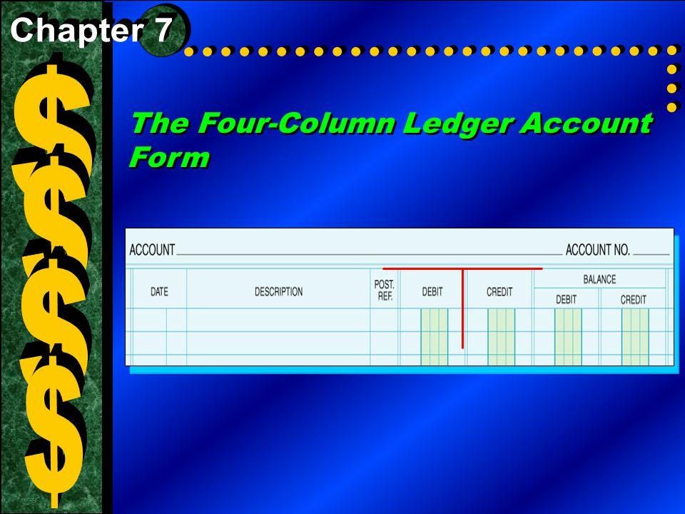 The Four-Column Ledger Account Form