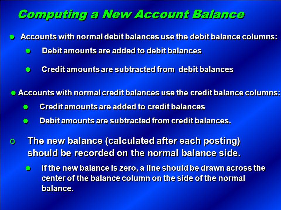 Computing a New Account Balance  Accounts with normal debit balances use the debit balance columns:  Debit amounts are added to debit balances  Acc