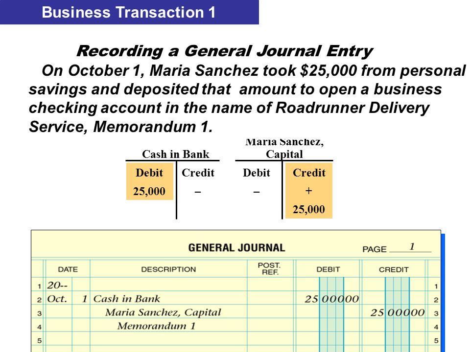 Business Transaction 1 Maria Sanchez, Cash in BankCapital Debit 25,000 Credit + 25,000 Credit – Debit – Recording a General Journal Entry On October 1