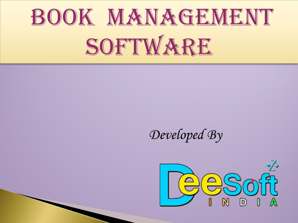 Book MANAGEMENT SOFTWARE Developed By