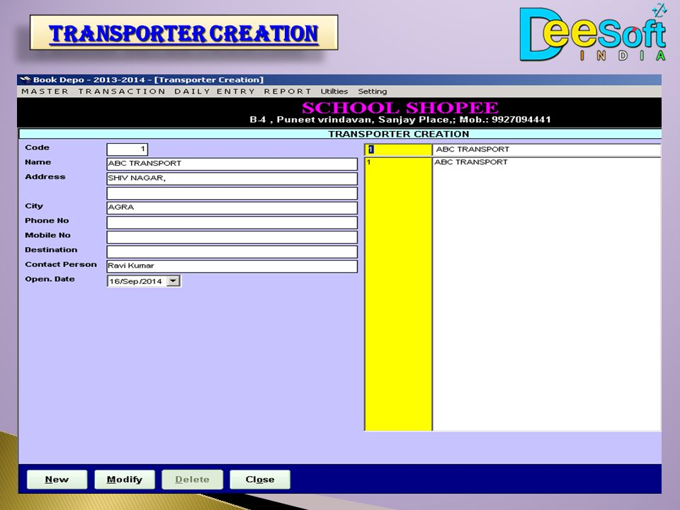 transporter Creation