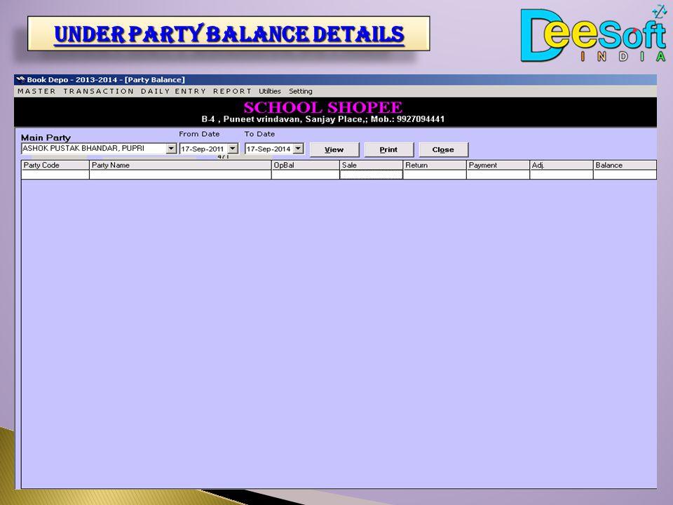 Under party balance details