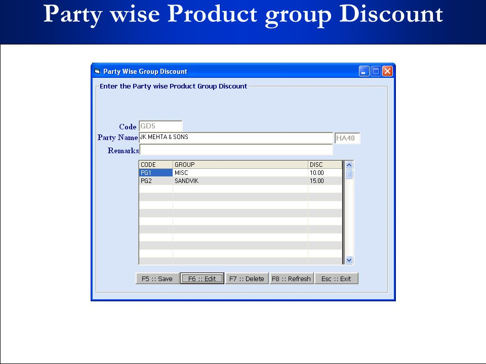 Party wise Product group Discount