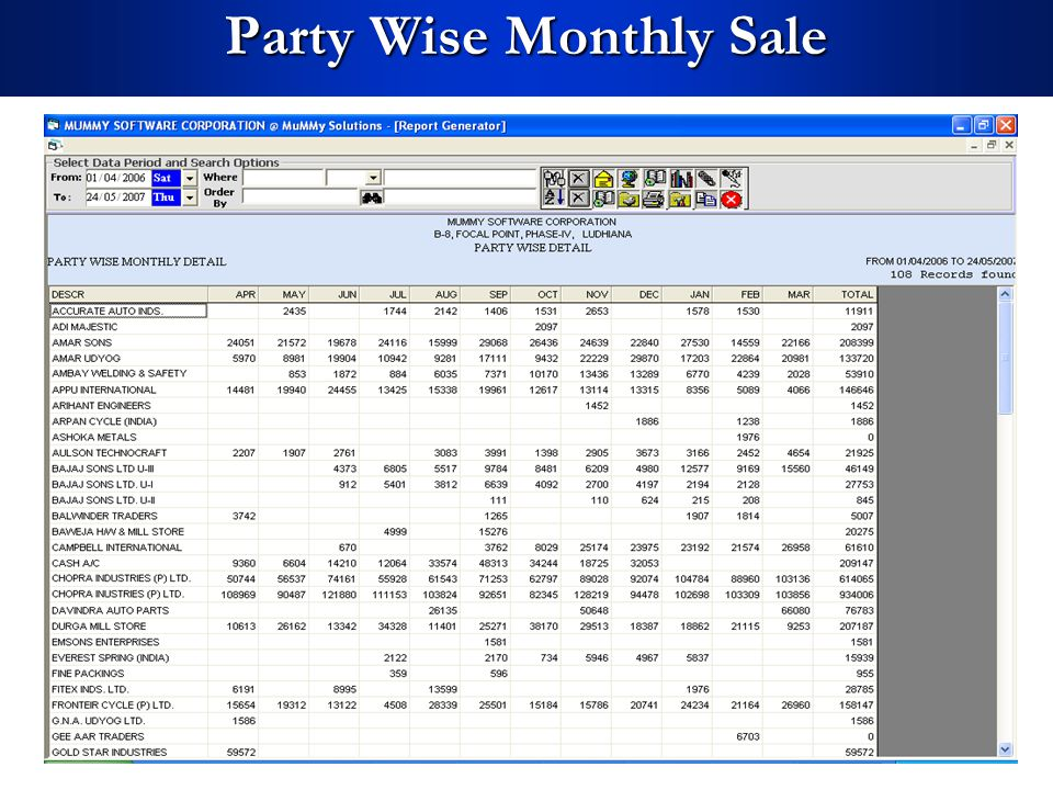 Party Wise Monthly Sale