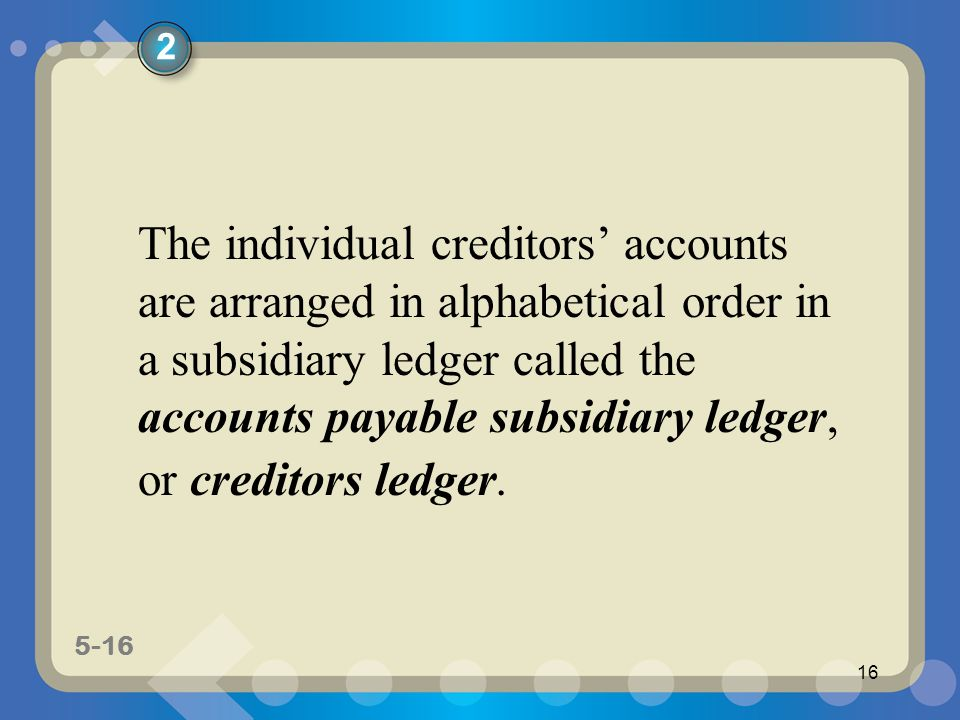 5-16 16 The individual creditors' accounts are arranged in alphabetical order in a subsidiary ledger called the accounts payable subsidiary ledger, or