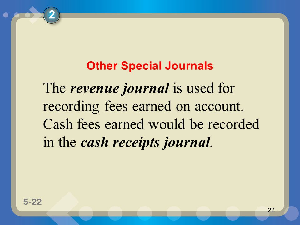 5-22 22 The revenue journal is used for recording fees earned on account. Cash fees earned would be recorded in the cash receipts journal. 2 Other Spe