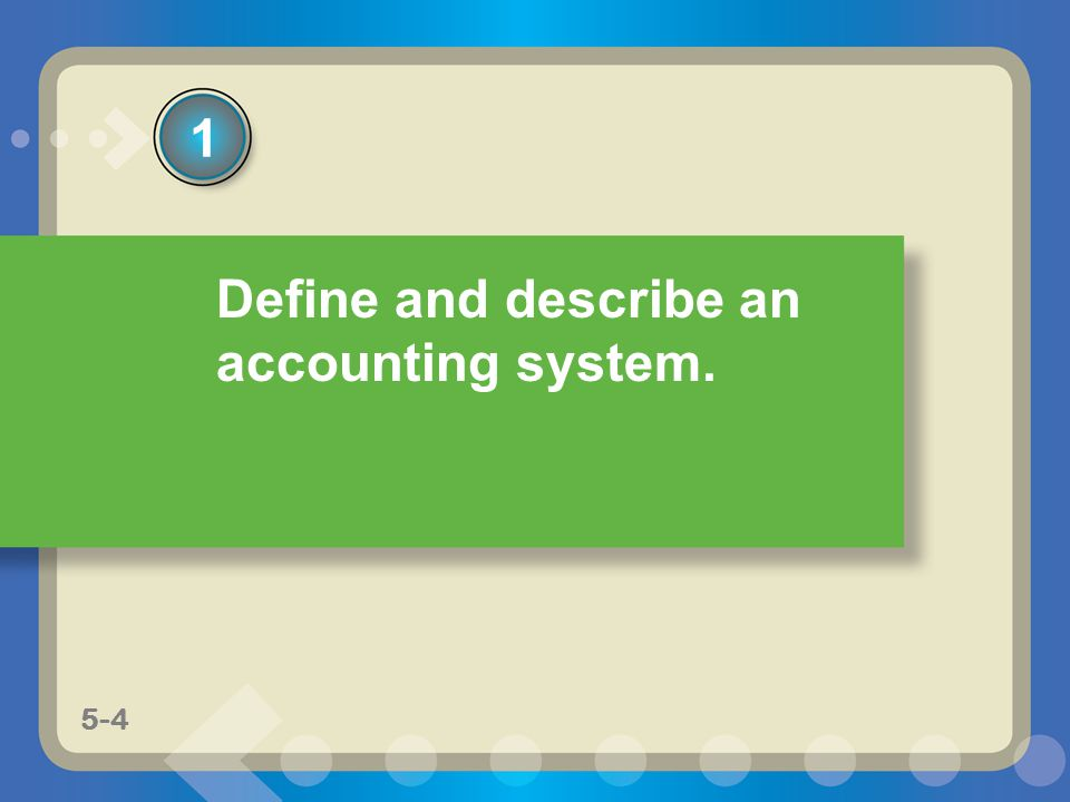 5-4 4 Define and describe an accounting system. 1 5-4