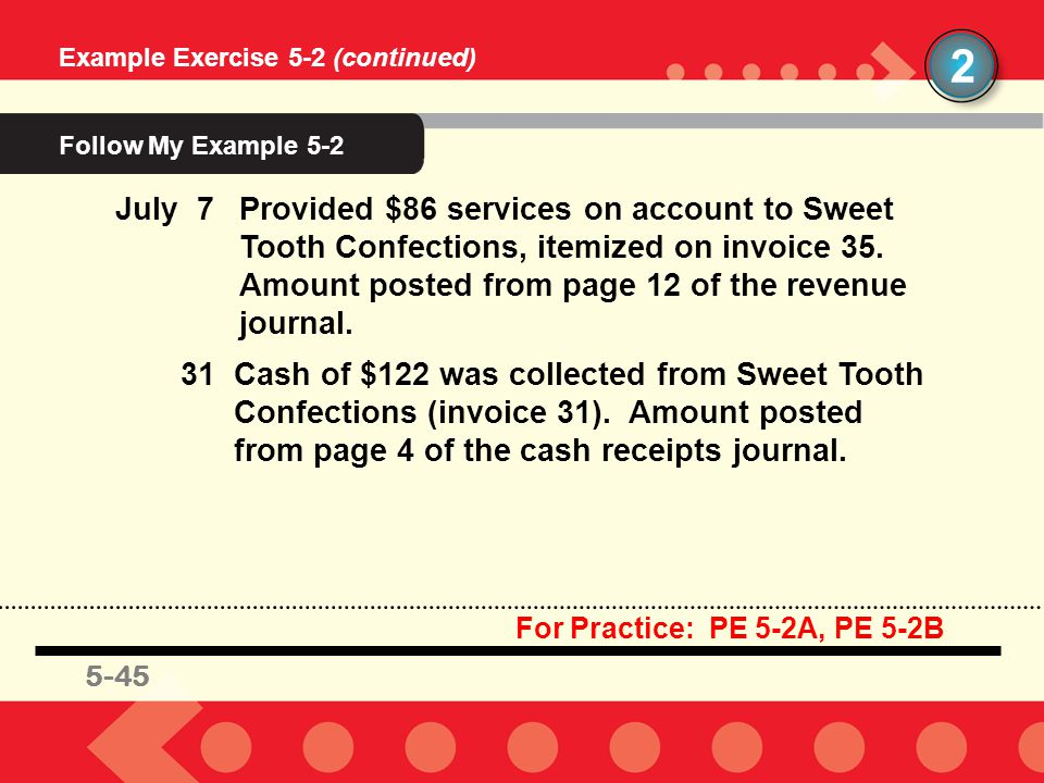 45 July 7Provided $86 services on account to Sweet Tooth Confections, itemized on invoice 35. Amount posted from page 12 of the revenue journal. 31Cas