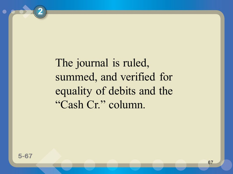 "5-67 67 The journal is ruled, summed, and verified for equality of debits and the ""Cash Cr."" column. 2"