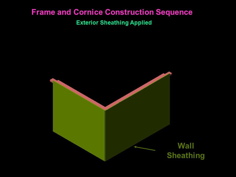 Wall Sheathing Frame and Cornice Construction Sequence Exterior Sheathing Applied