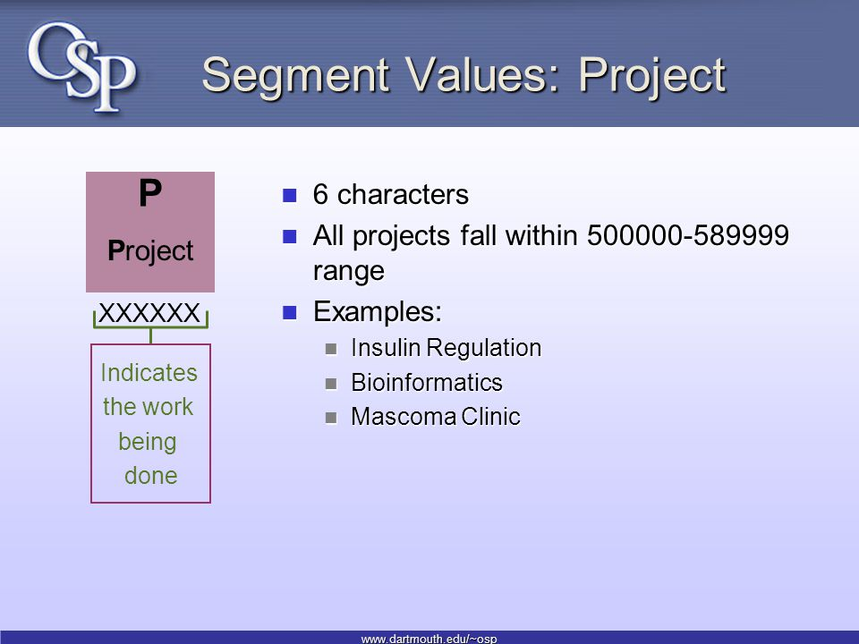 www.dartmouth.edu/~osp Segment Values: Project 6 characters 6 characters All projects fall within 500000-589999 range All projects fall within 500000-589999 range Examples: Examples: Insulin Regulation Insulin Regulation Bioinformatics Bioinformatics Mascoma Clinic Mascoma Clinic Indicates the work being done Project P XXXXXX