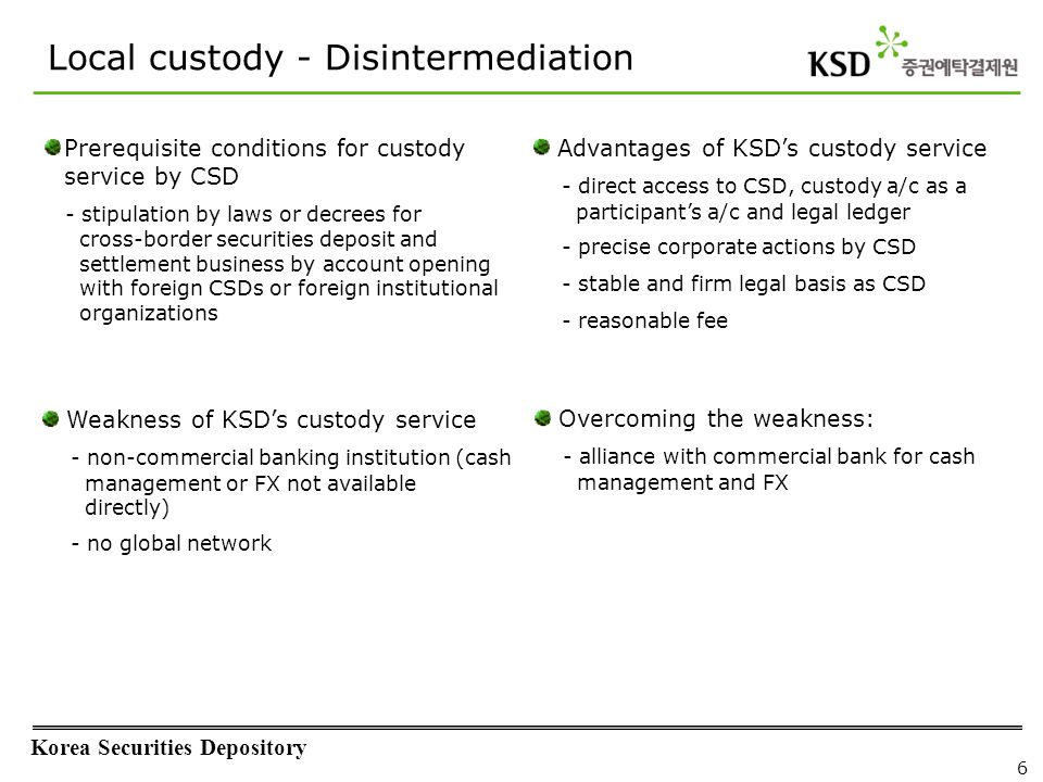 Korea Securities Depository 6 Prerequisite conditions for custody service by CSD - stipulation by laws or decrees for cross-border securities deposit