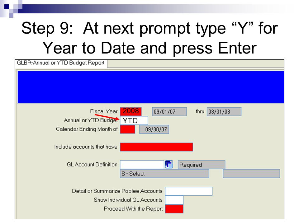 Step 9: At next prompt type Y for Year to Date and press Enter 2008 Y YTD