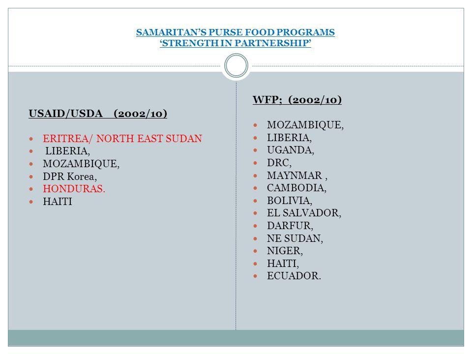 SAMARITAN'S PURSE FOOD PROGRAMS 'STRENGTH IN PARTNERSHIP' USAID/USDA (2002/10) ERITREA/ NORTH EAST SUDAN LIBERIA, MOZAMBIQUE, DPR Korea, HONDURAS.