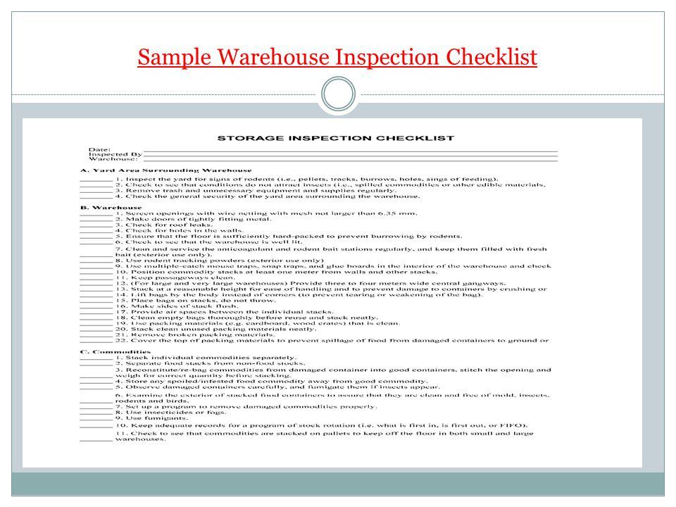 Sample Warehouse Inspection Checklist