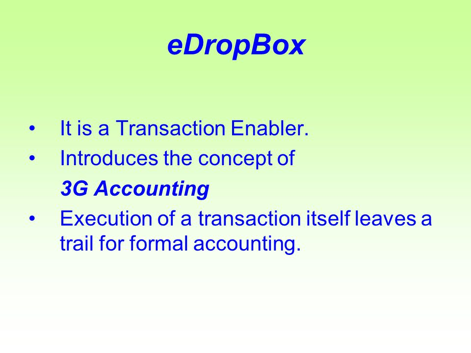 eDropBox The destination account is selected from the drop down list and pressing the CONFIRM button will update the accounting system.