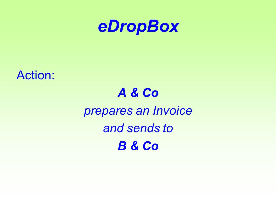 eDropBox Steps: The user logs into eDropBox client software enters the invoice details and then saves.