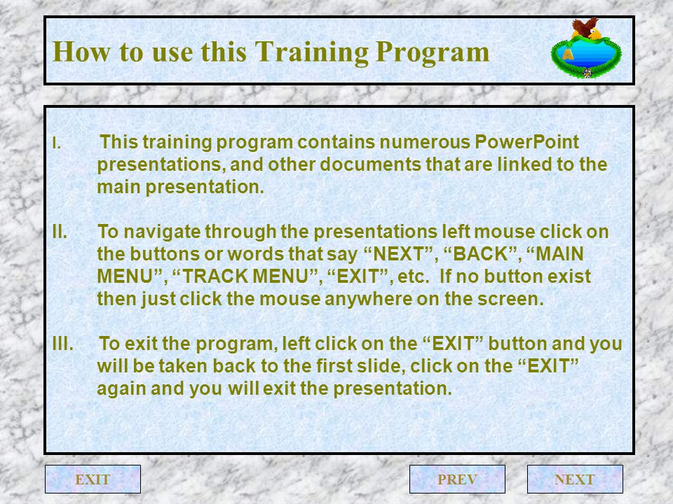 How to use this Training Program IV.