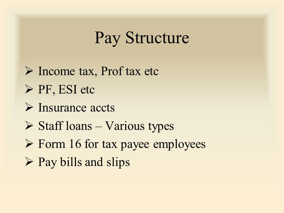 Pay Structure  Income tax, Prof tax etc  PF, ESI etc  Insurance accts  Staff loans – Various types  Form 16 for tax payee employees  Pay bills and slips