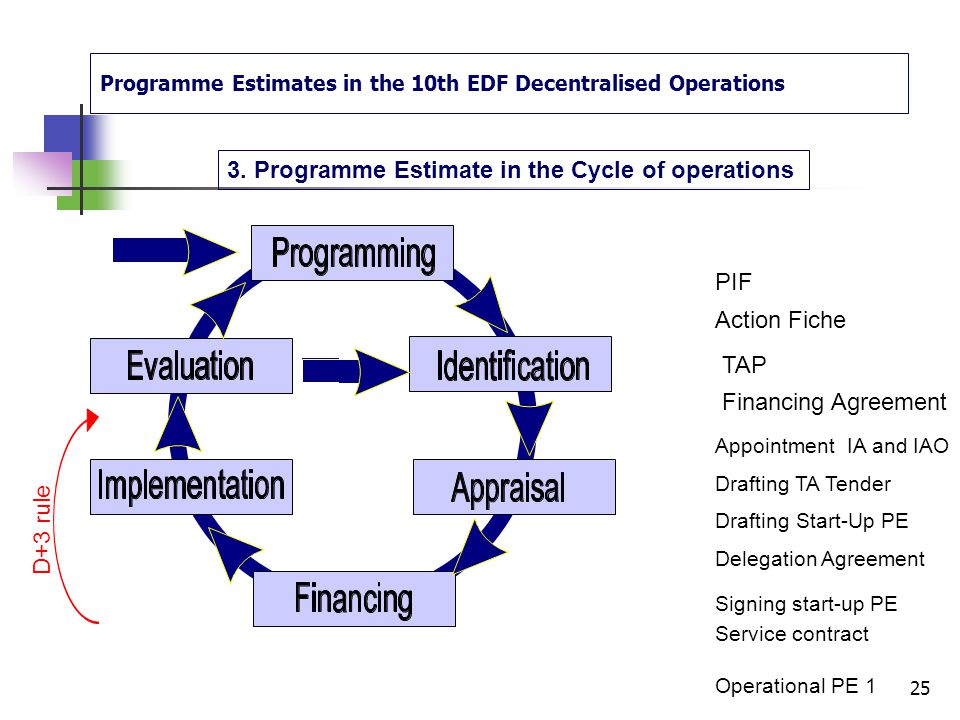 Programme Estimates in the 10th EDF Decentralised Operations 2. Definitions: The roles of the actors The Steering Committee optional: see the TAP comp