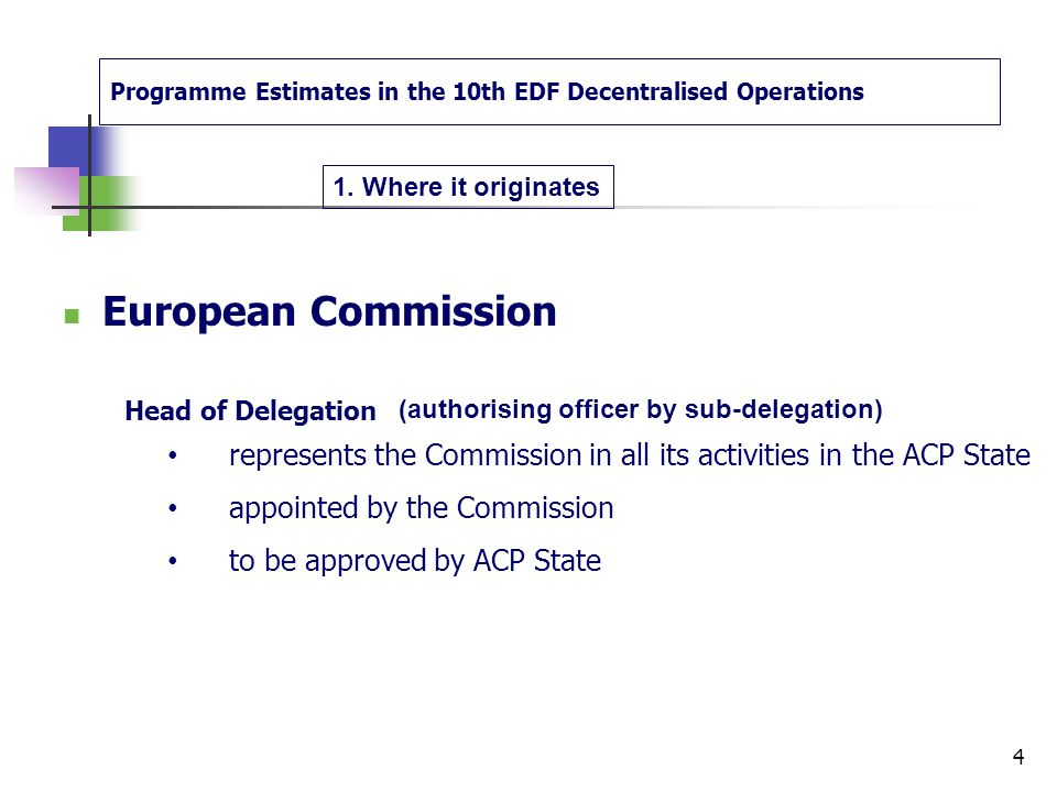 European Commission Undertakes the financial execution of operations carried out with EDF resources has decentralised its functions  Appoints authori