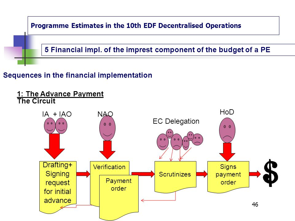 Programme Estimates in the 10th EDF Decentralised Operations 5 Financial impl. of the imprest component of the budget of a PE 45 Sequences in the fina