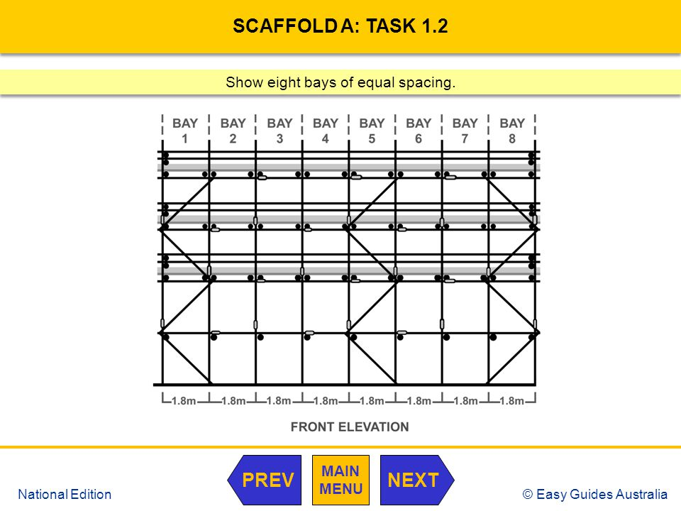 © Easy Guides Australia National Edition SCAFFOLD A: TASK 1.2 Show eight bays of equal spacing. MAIN MENU NEXTPREV