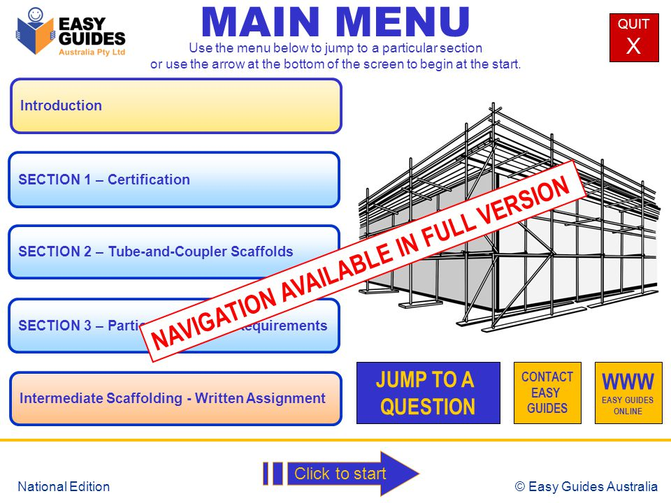 © Easy Guides Australia National Edition Parts used in Basic Modular Scaffolding Standard Guardrail Midrail Toeboard Traverse Brace Transom Soleplate Working Platform Longitudinal Brace Ledger Baseplate MAIN MENU NEXTPREV
