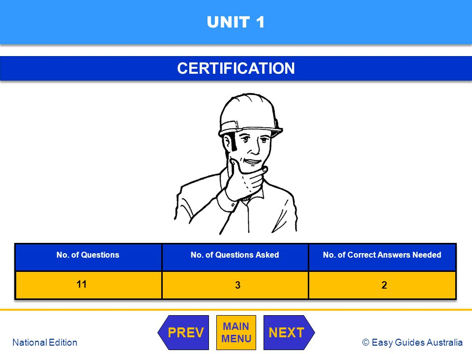 © Easy Guides Australia National Edition CERTIFICATION UNIT 1 MAIN MENU NEXTPREV