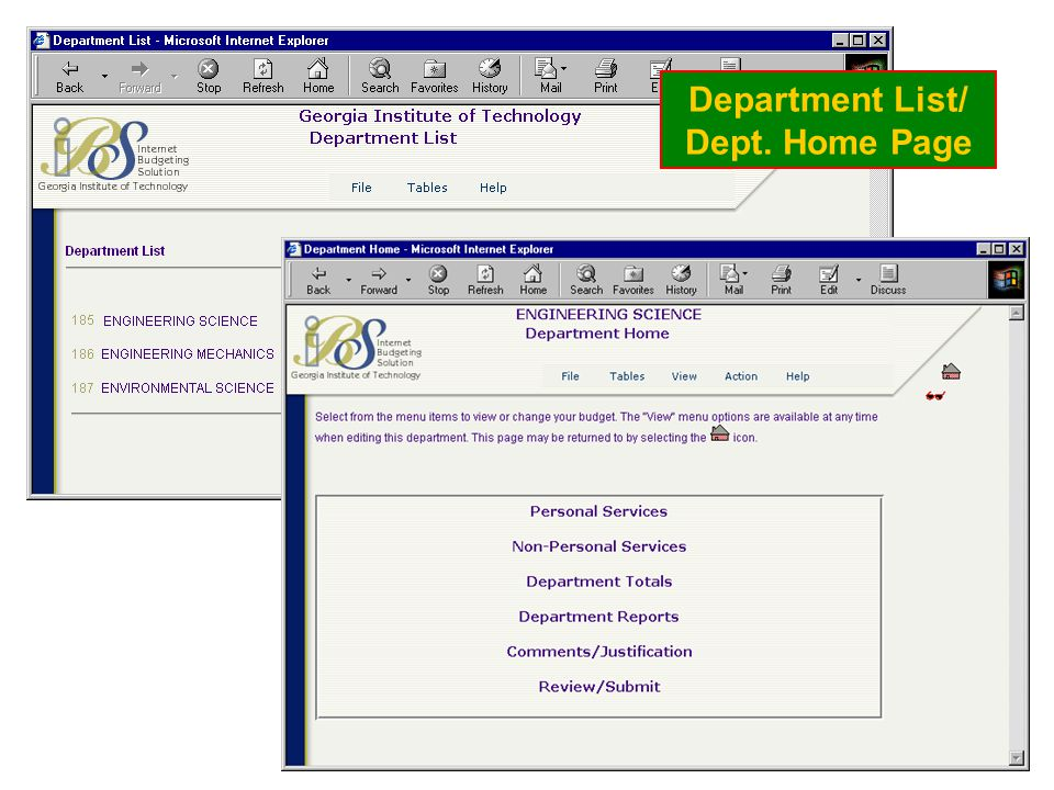 Department List/ Dept. Home Page