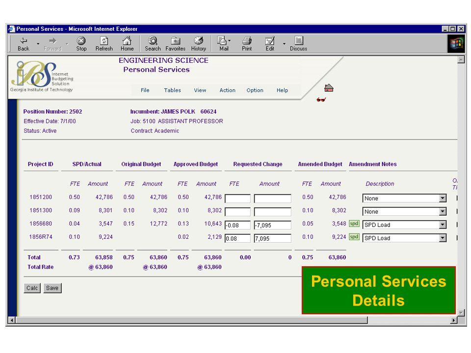 Personal Services Details